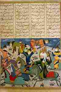A battle scene from an illustrated version of the 'Shahnameh,' on display in Tehran.