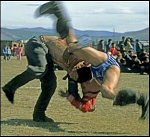 Traditional wrestlers battle in Mongolia's Darhad Valley.