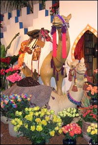 Full-sized statues of camels are the centerpiece of a flower display with an oasis theme