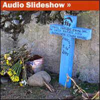 Makeshift memorials dot the area where a mudslide razed dozens of homes in 2005.