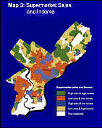 A GIS map of grocery options in Philadelphia maps both supermarket sales and income.