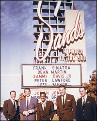 Rat Pack poses in front of Sands sign