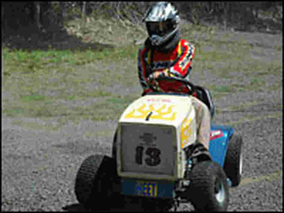 Kirk Frew, a mower-racing enthusiast, gives his mower a test drive.
