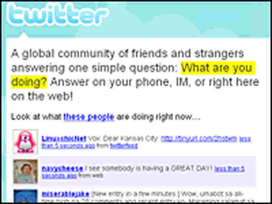 "The Twitter service invites you to publicly answer the question, ""What are you doing?"""