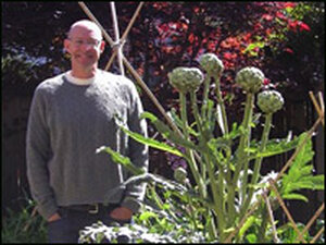Michael Pollan in his garden