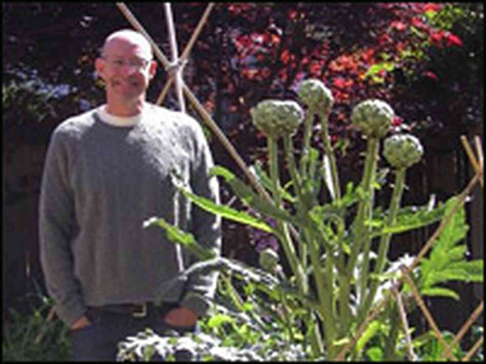 Michael Pollan in his garden