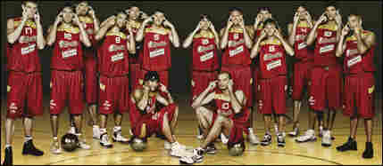 The Spanish men's basketball team poses for a photograph in a manner that many found offensive.