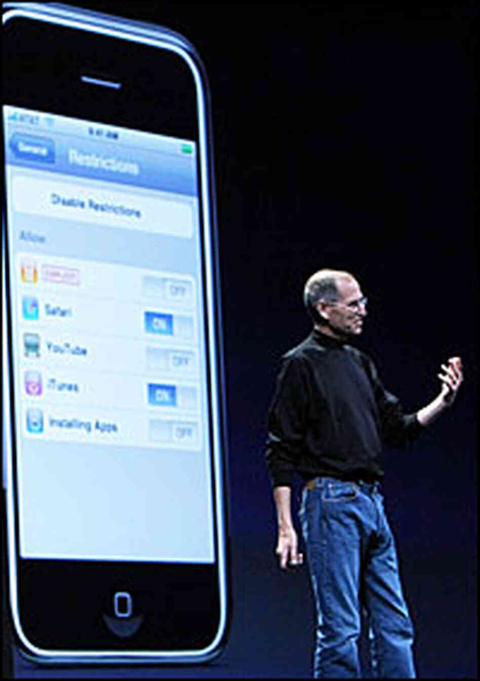 Apple CEO Steve Jobs introduces the new iPhone 3G.
