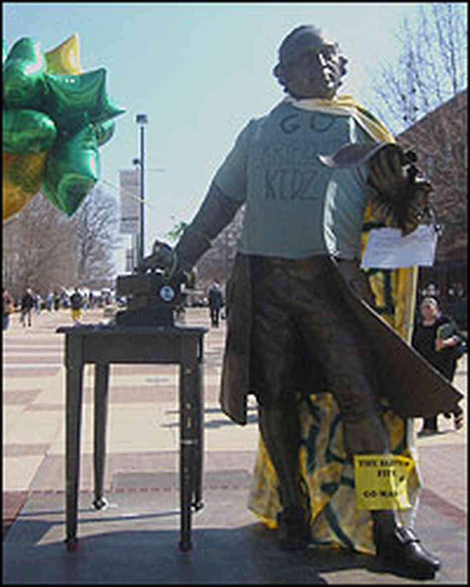 The George Mason statue on the campus in Fairfax, Va., decorated for the NCAA tournament.