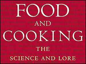 Detail of the cover of 'On Food and Cooking'.