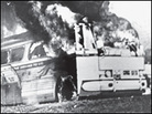 Freedom bus in flames, Alabama 1961