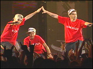 On stage, in a rage: The Beastie Boys.
