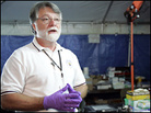 Dr. Cataldie describes the process of fingerprinting Hurricane Katrina victims .