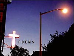"""Detail from the cover of 'Sinners Welcome' shows cross, lightpost, word """"poems."""""""