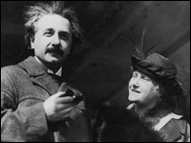 Two on a Party: Recently unveiled letters reveal that Albert Einstein, with wife Elsa on a trip to Egypt circa 1935, wasn't shy about telling her about his extramarital affairs. (Topical Press Agency/Getty)
