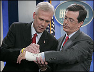 Stephen Colbert gets cast signed by Tony Snow