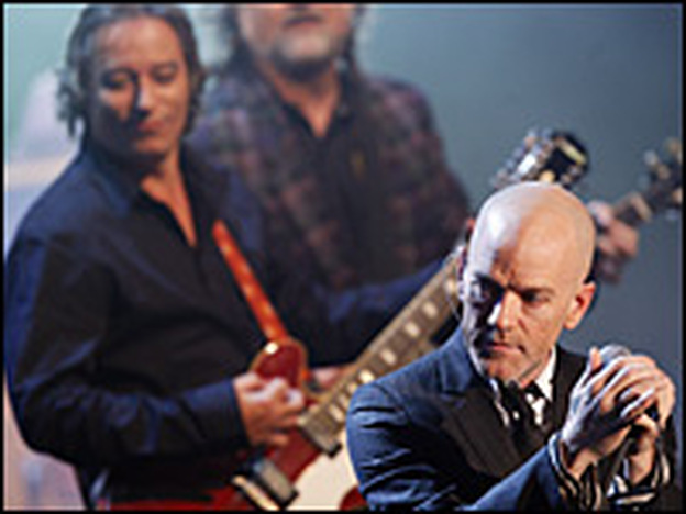 R.E.M. has been playing around the world to promote their 14th album, Accelerate. (Getty Images)