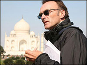 Danny Boyle on set in Mumbai, India