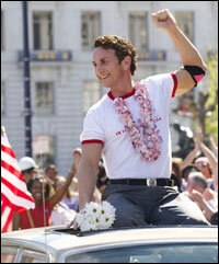 James Franco as Scott Smith and Sean Penn as Harvey Milk in Milk.