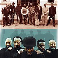 Dirty Dozen jazz band (top); Dixie Hummingbirds (bottom)