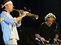 Vibe player Mike Mainieri, right, performs next to sax player Bill Evans, left, during a concert by the jazz band Steps Ahead on July 14, 2005 at the Vitoria-Gasteiz Jazz Festival in Spain. Rafa Rivas/AFP/Getty Images