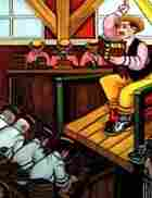 A portion of the painting by Ferdie Pacheco showing a Lector reading to a group of cigar rollers.