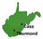 A map of West Virginia showing Cass and Thurmond