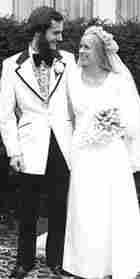 Bonnie Ruetnik & Ched Hudson at their wedding in 1974.