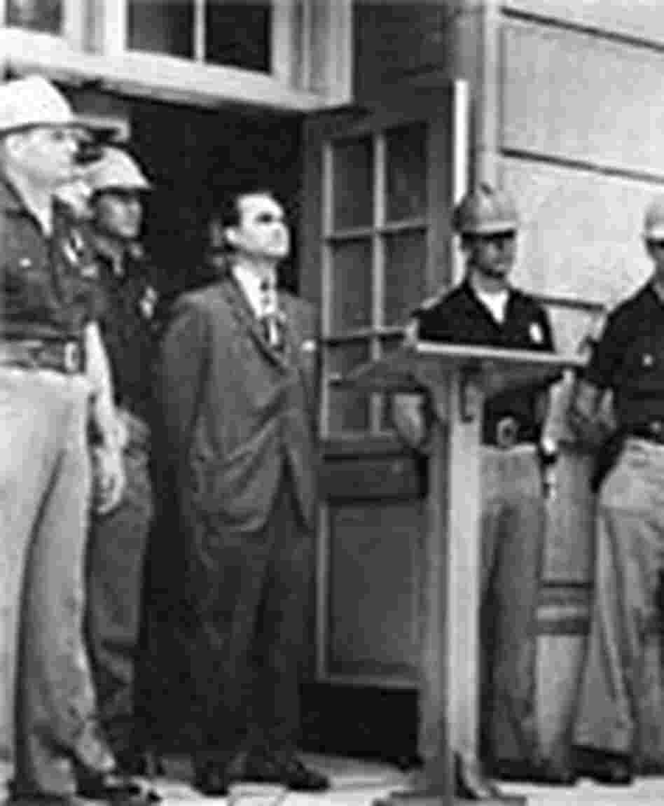 Gov. George Wallace blocks the doorway to Foster Auditorium