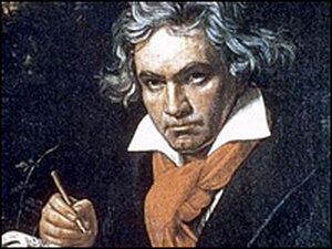 Ludwig van Beethoven in a portrait painted in 1819-20 by J.K. Stieler.