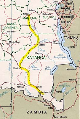A map shows the route of the Kindu-Lubumbashi Railway in eastern Congo. Credit: CIA map courtesy The General Libraries, The University of Texas at Austin