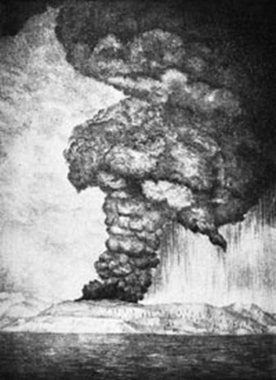 An artist's rendering of the 1883 eruption of Krakatoa.