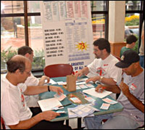 Fans play Strat-O-Matic during a 40th anniversary tournament.