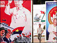 A man walks among posters in Ho Chi Minh City, Vietnam.