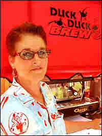 Rusinow at her coffee stand. Credit: Ketzel Levine, NPR.