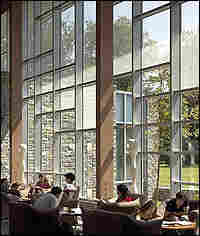 Swarthmore College's new science center combines clear glass with bird-friendly fritted glass.
