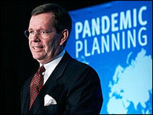 U.S. HHS Secretary Mike Leavitt speaks during a meeting on pandemic flu planning.
