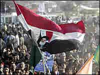Protestors wave an Iraqi flag in Baghdad. Credit: Reuters-Ali Jasim.