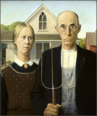 Grant Wood (American).  'American Gothic,' 1930. Oil on board.