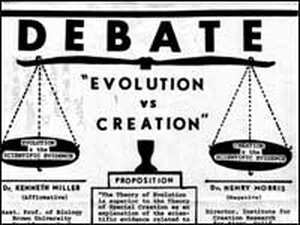 A poster advertises a debate