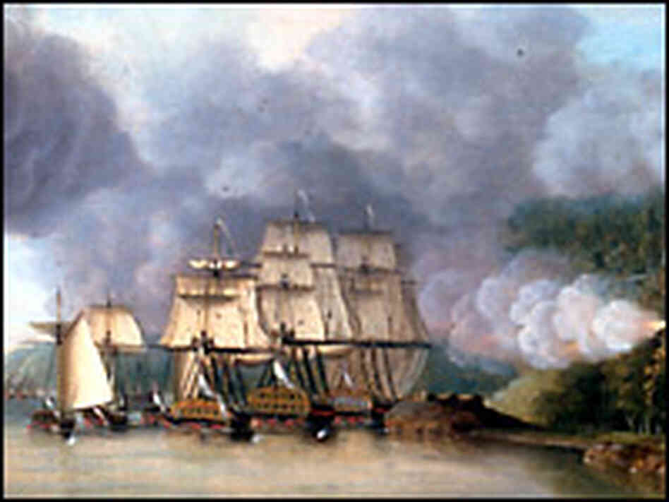 British ships under fire on the Hudson. Credit: Dominic Serres. From: U.S. Naval Academy Museum.