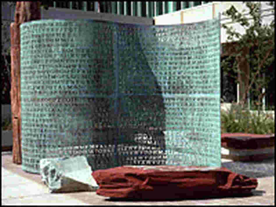 The Kryptos puzzle at CIA headquarters in Langley, Va.