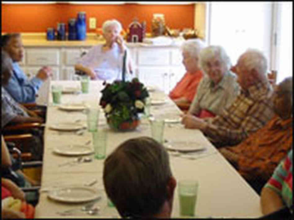 Residents of Green House nursing homes eat leisurely dinners in a family-like setting.
