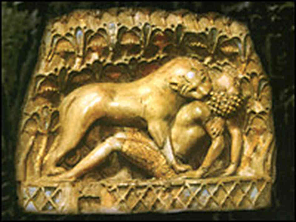 Lioness Attacking a Nubian. Courtesy: Iraq Museum.