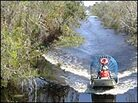 A flat-bottomed airboat is the only way to travel through the Louisiana marshlands
