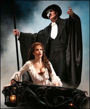 Howard McGillin and Sandra Joseph take the boat into the Phantom's lair.
