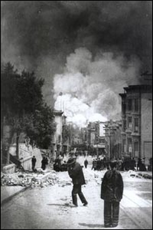 Onlookers watch the fire following the 1906 earthquake.