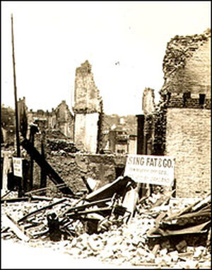 Ruins of Dupont Street in Chinatown following the quake and fire.