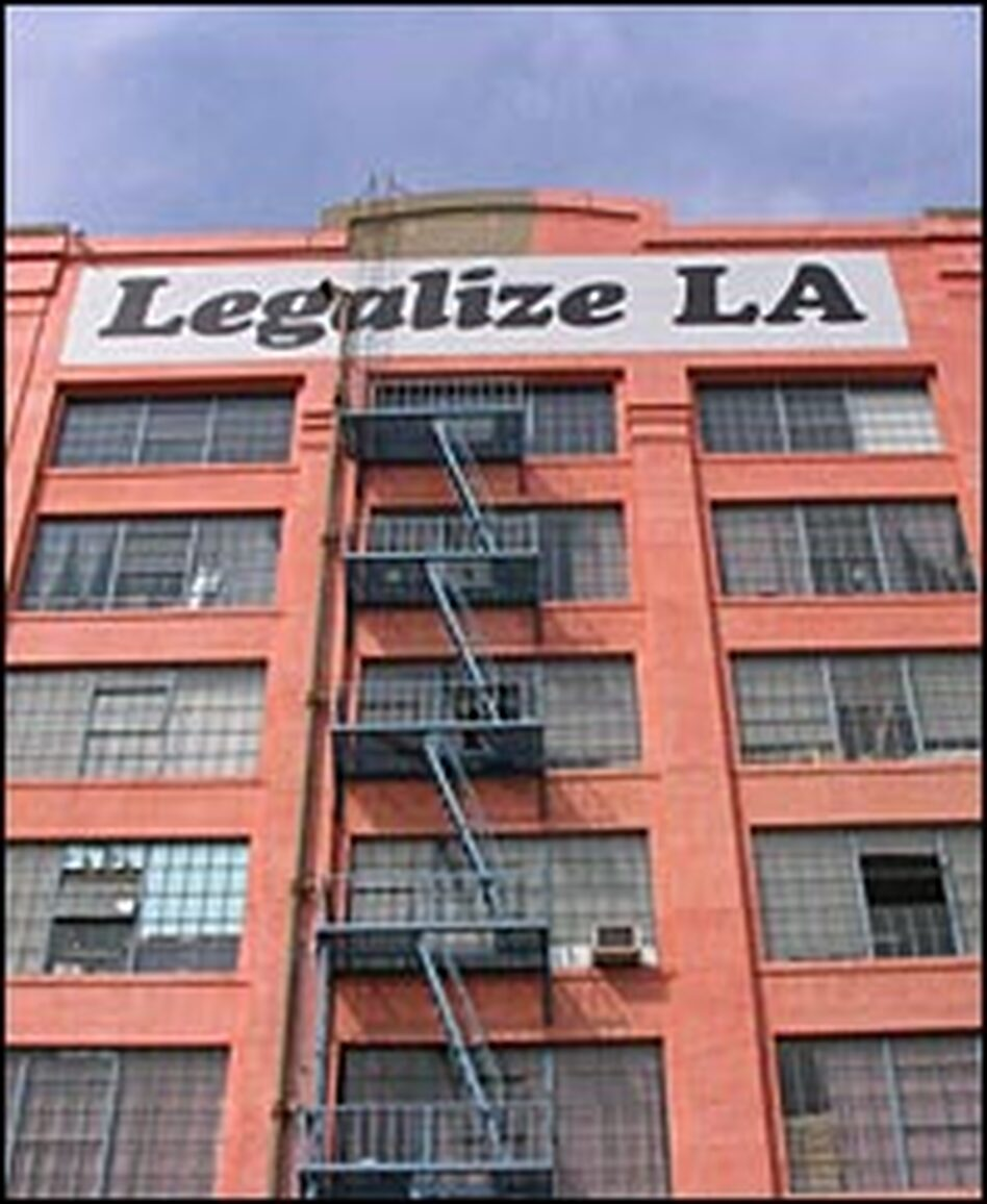 American Apparel owner Dov Charney isn't afraid to show his political side -- the sign on his downtown Los Angeles factory signals his opinion about the ongoing debate over proposed changes to America's immigration policies.