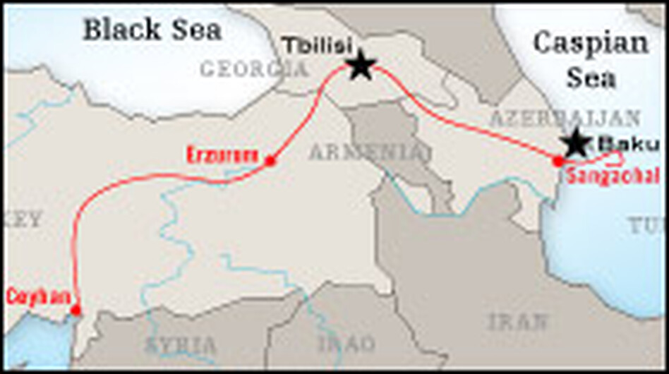 The Baku-Tbilisi-Ceyhan oil pipeline runs for 1,000 miles through three countries between the Caspian and  Mediterranean seas.